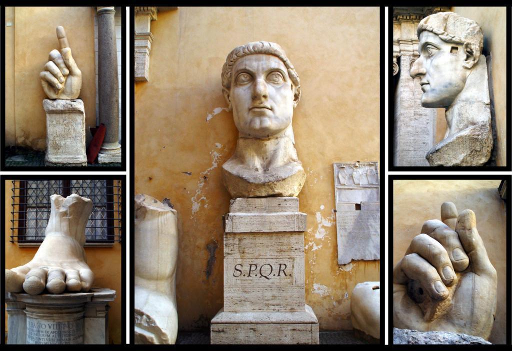 İmparator Büyük Konstantin'in Maxentius Bazilikası'ndaki dev heykeline ait parçalar, Palazzo dei Conservatori avlusu, Kapitolin Müzesi, Roma, İtalya (7)