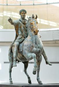 Palazzo Dei Conservatori'de yer alan Marcus Aurelius'un Bronz heykeli, Kapitoline Müzeleri, Roma, İtalya.
