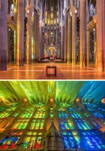 Sagrada Familia'da renk cümbüşü - Vitraylar günün her saatinde farklı renkleri yansıtmaktadır. Kendinizi bir gökkuşağının altındaymış gibi hissedeceksiniz