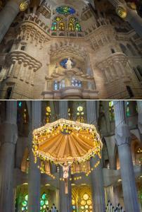 Sagrada Familia'nın Apse bölümü ve Altar bölümünden detaylar. Apse bölümünü hem içerden hem dışardan görmenizi öneririz.