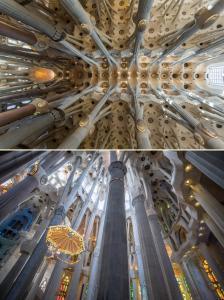 Sagrada Familia'nın içi inşaa edilirken Gaudi'nin fikirlerine sadık kalınarak doğadan esinlenilmiştir. Gerçekten Muhteşem!
