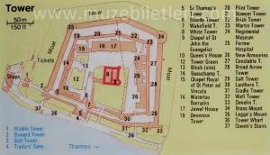 Londra Kalesi (Tower of London) - Detaylı Harita