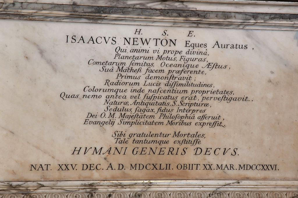 Isaac Newton - Westminster Abbey