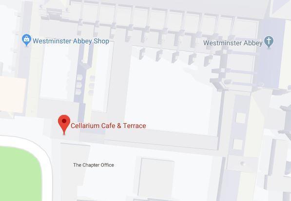 Westminster Katedrali'nin mağazası ve kafetaryasının konumu.