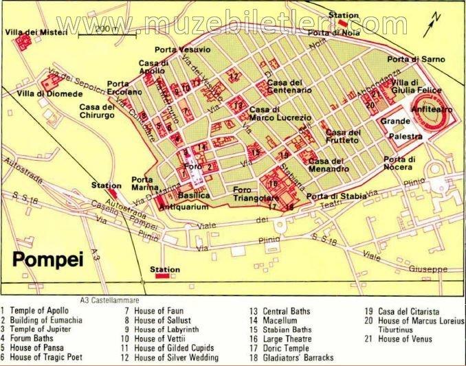 Pompeii Antik Kenti Haritası - Pompeii Giriş Ücreti ve Turları