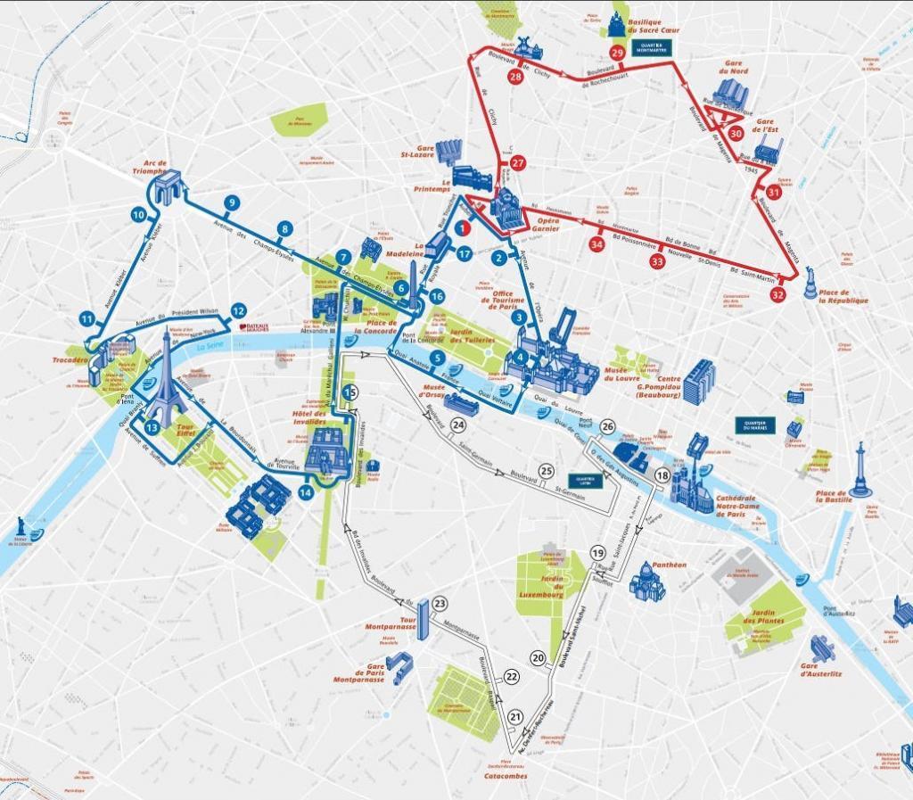 Üstü Açık Otobüsle Paris Turu - Güzergah Haritası