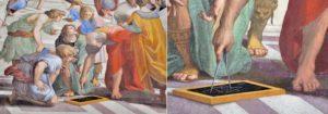Elinde pergel ile çizim yapan Öklid - Atina Okulu, Raphael Odaları