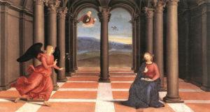 Raphael'in Perugia, İtalyadaki Oddi ailesi şapelindeki kilisenin sunağı için yaptığı Oddi Altar'dan bir detay - Duyuru eseri.