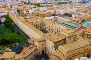 Vatikan Müzeleri'nin havadan görünümü - fotoğraf Aziz Petrus Bazilikası'ndan çekilmiştir.