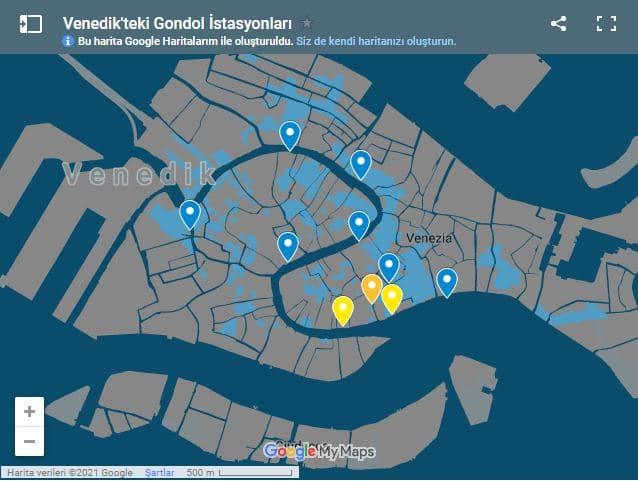 venedik gondol istasyonlarinin haritasi
