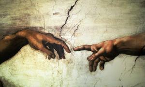 Adem'in Yaratılışı sahnesi detay- Eller
