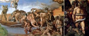 Charon lanetlileri cehennemin kıyılarına sürüyor ve sağ alt köşede eşek kulaklı Minos