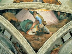 Davut Golyat'ın başını keserken