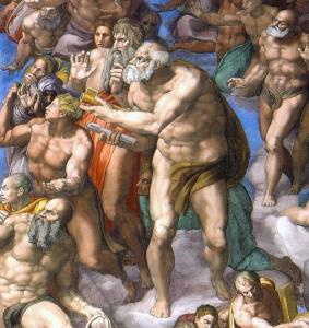 Elinde cennetin anahtarını tutan Aziz Petrus ve kırmızı elbiseli Aziz Paul.