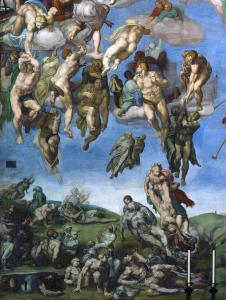 Freskin sağ alt tarafı - Cennete gideceklerin tasviri.