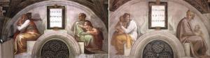 Lunette'lerden ikisi - Yarım ay şeklinde yerleştirilen bu fresklerde İsa'nın atalarına yer verilmiştir.
