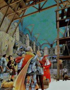 Michelangelo Buonarotti boyamadan önce şapelin tavanı yıldızlı sade bir dekorasyona sahipti.