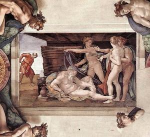 Nuh'un Sarhoşluğu - Sistina Şapeli'nin Tavanı
