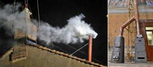 Papa'nın seçildiğini gösteren beyaz duman ve Sistina Şapeli'nin içindeki oyların yakıldığı soba