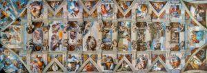 Sistina Şapeli'nin Tavanı - Tüm freskler tek karede.