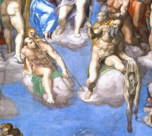 Son Yargı - Aziz Lawrance ve Aziz Bartholomew. Aziz Bartholomew'in elinde tuttuğu derinin yüzüne Michelangelo Buonarotti kendi oto portresini yapmıştır.