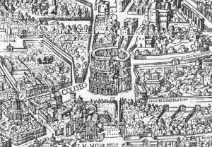 Bir ortaçağ haritasında Kolezyum detayı.