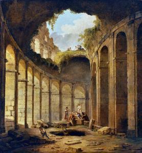 Hubert Robert'in , Kolezyum'da yapılan ilk arkeolojik kazıları tasvir eden 1780 tarihli tablosu. Prado Müzesi, Madrid.
