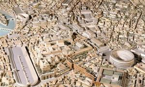 Kolezyum ve Antik Roma'nın minyatür modeli.